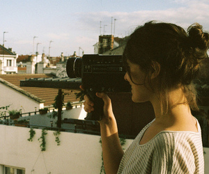 girl, vintage, and camera image