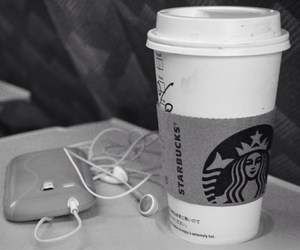 coffee, earbuds, and music image
