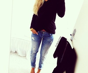 blonde, inspire, and jeans image