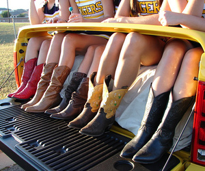 girl, boots, and cowboy boots image