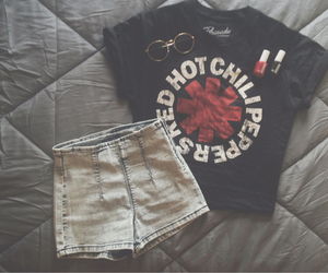 outfit, red hot chili peppers, and red image
