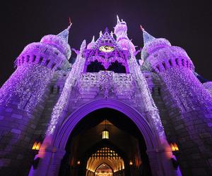 purple, castle, and disney image