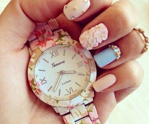 nails, watch, and flowers image