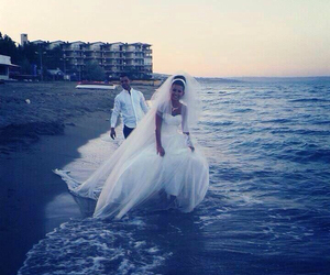 wedding, beach, and couple image