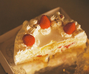 cake, sweet, and strawberry image