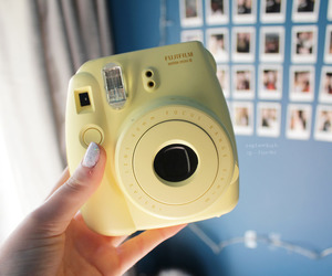camera, yellow, and polaroid image