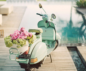 flowers, Vespa, and summer image