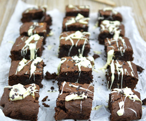 brownies, chocolate, and white chocolate image