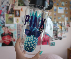 pink, bottle, and pineapple image