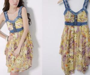 dress, floral, and fashion image