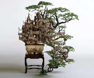 bonsai, tree, and art image
