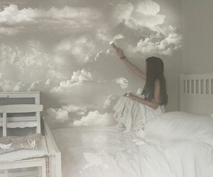 girl, clouds, and white image