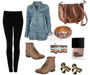 outfit, boots, and leggings image