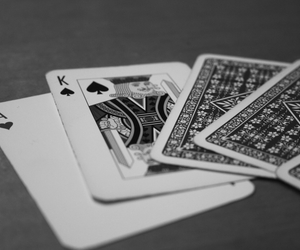 black and white, cards, and king image