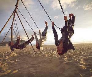 friends, beach, and swing image