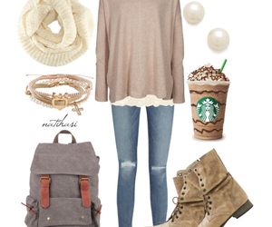 starbucks, outfit, and scarf image