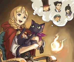 pheonix wright, maya fey, and professeur layton image