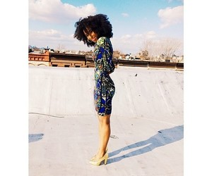 Afro, blue sky, and african american woman image