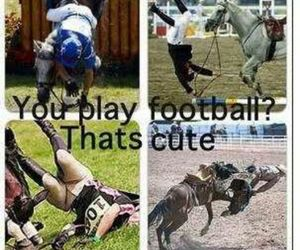 football, horse riding, and horses image