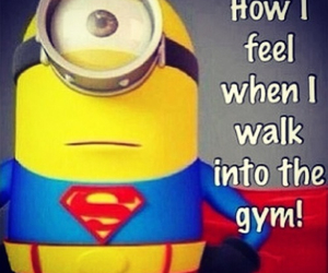 gym, minions, and superman image
