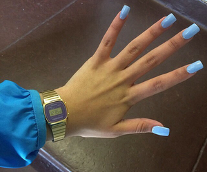 nails, blue, and watch image