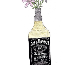 flowers, jackdaniels, and vase image