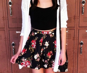 floral, outfit, and skirt image