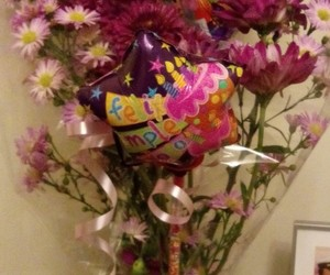 ballons, flowers, and bday image
