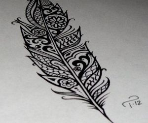 feather, tattoo, and drawing image