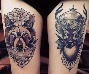 deer, wolf, and alternative image
