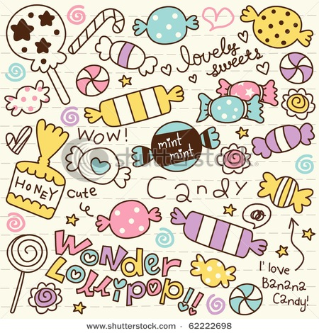 Cute Doodle Candy Stock Vector 62222698 Shutterstock