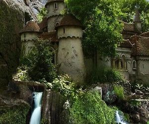 castle, waterfall, and nature image