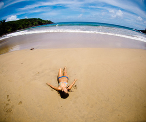 beach, fisheye, and girl image
