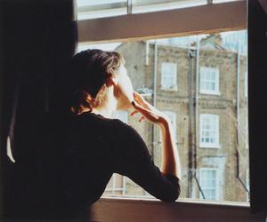 girl, window, and smoking image