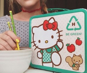 chopsticks, hello kitty, and cute image