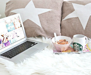 starbucks, laptop, and breakfast image
