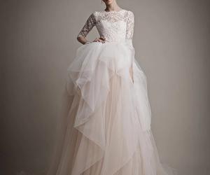 girly, lace, and wedding dress image