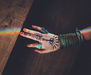 rainbow, indie, and boho image
