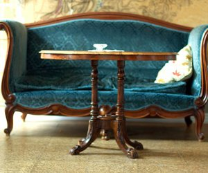 sofa, table, and vintage image
