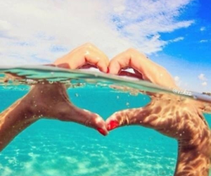 heart, water, and ocean image
