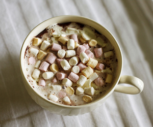 marshmallow, drink, and hot ​chocolate image