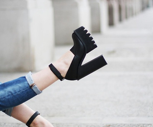 black, heels, and cool image