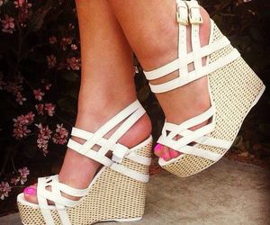 tan heels, white straps, and opened toed image
