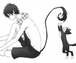 ao no exorcist, anime, and black and white image