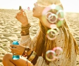 girl, bubbles, and beach image