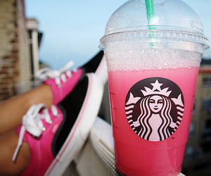 starbucks, pink, and vans image