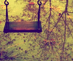 swing, autumn, and leaves image