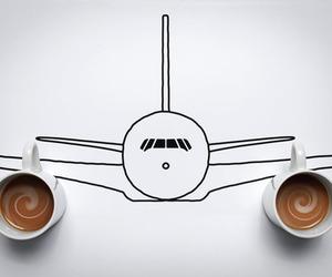 coffee, airplane, and creative image