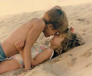 beach, little, and love image