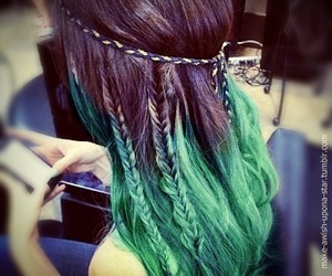 hair, braid, and ombre image